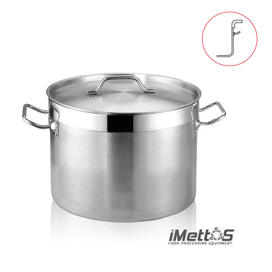 Stainless Steel StockPot Curved rim edge Commercial Grade 3-Ply Clad Base, Induction Ready